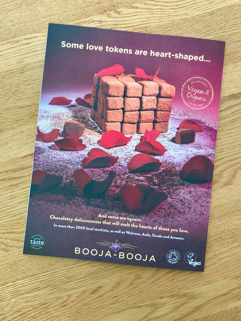 Booja-Booja Valentine advertisement for delicious vegan chocolate truffles, appearing on the back cover of the February 2021 Vegan Food & Living magazine