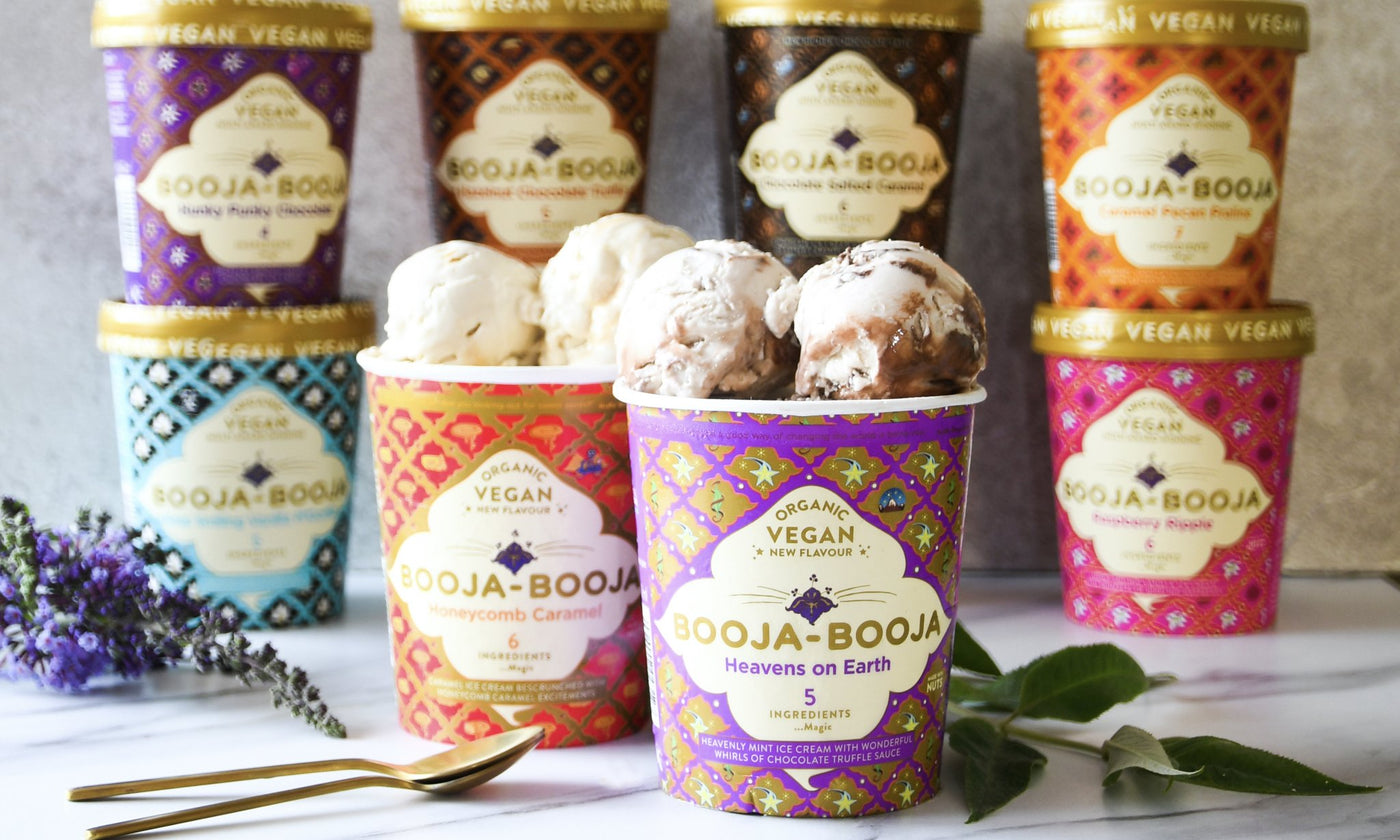 The full range of delicious vegan and organic ice cream from Booja-Booja