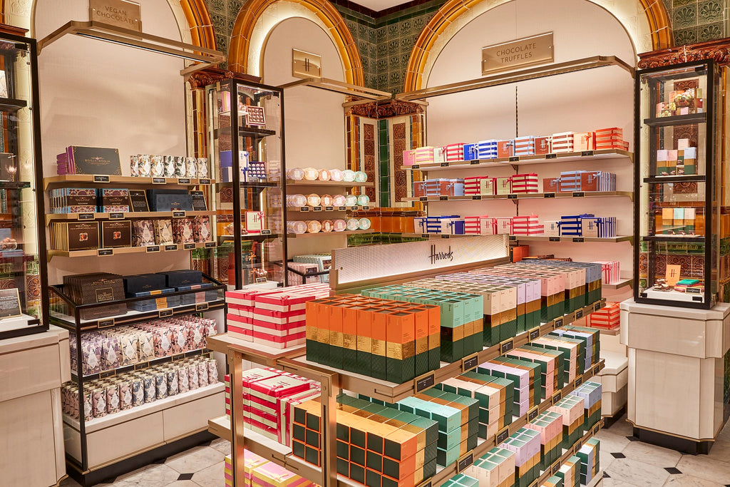 Booja-Booja on the shelves of the new Chocolate Hall in Harrods, Knightsbridge