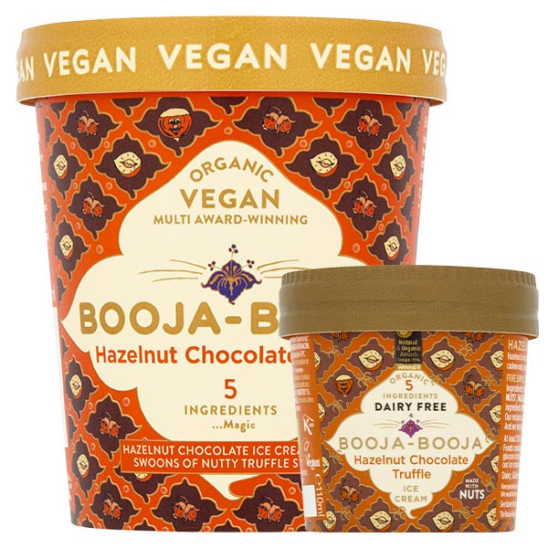 A tub of delicious Booja-Booja vegan and organic Hazelnut Chocolate Truffle ice cream