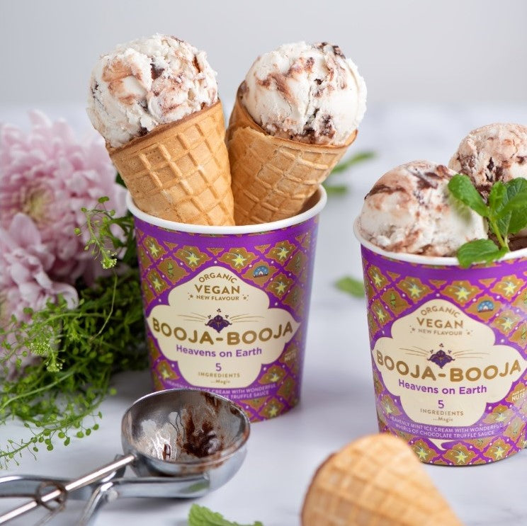 A tub of delicious Booja-Booja vegan and organic Heavens on Earth mint chocolate ice cream