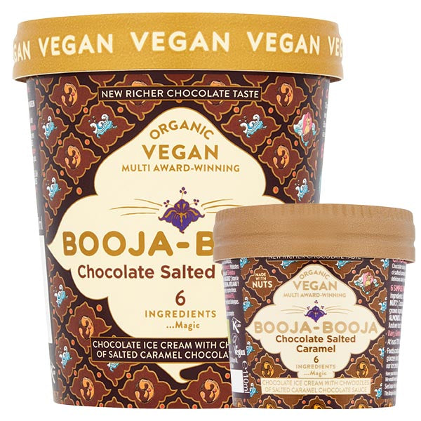 A tub of delicious Booja-Booja vegan and organic Chocolate Salted Caramel ice cream