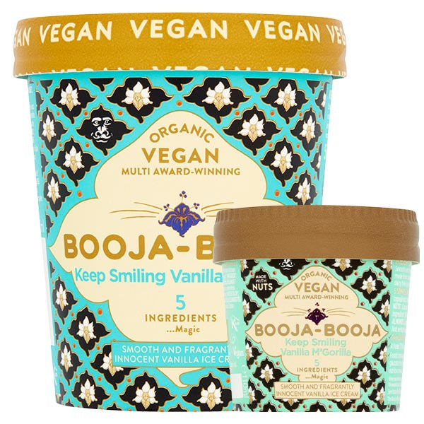 A tub of delicious Booja-Booja vegan and organic Vanilla M'Gorilla ice cream