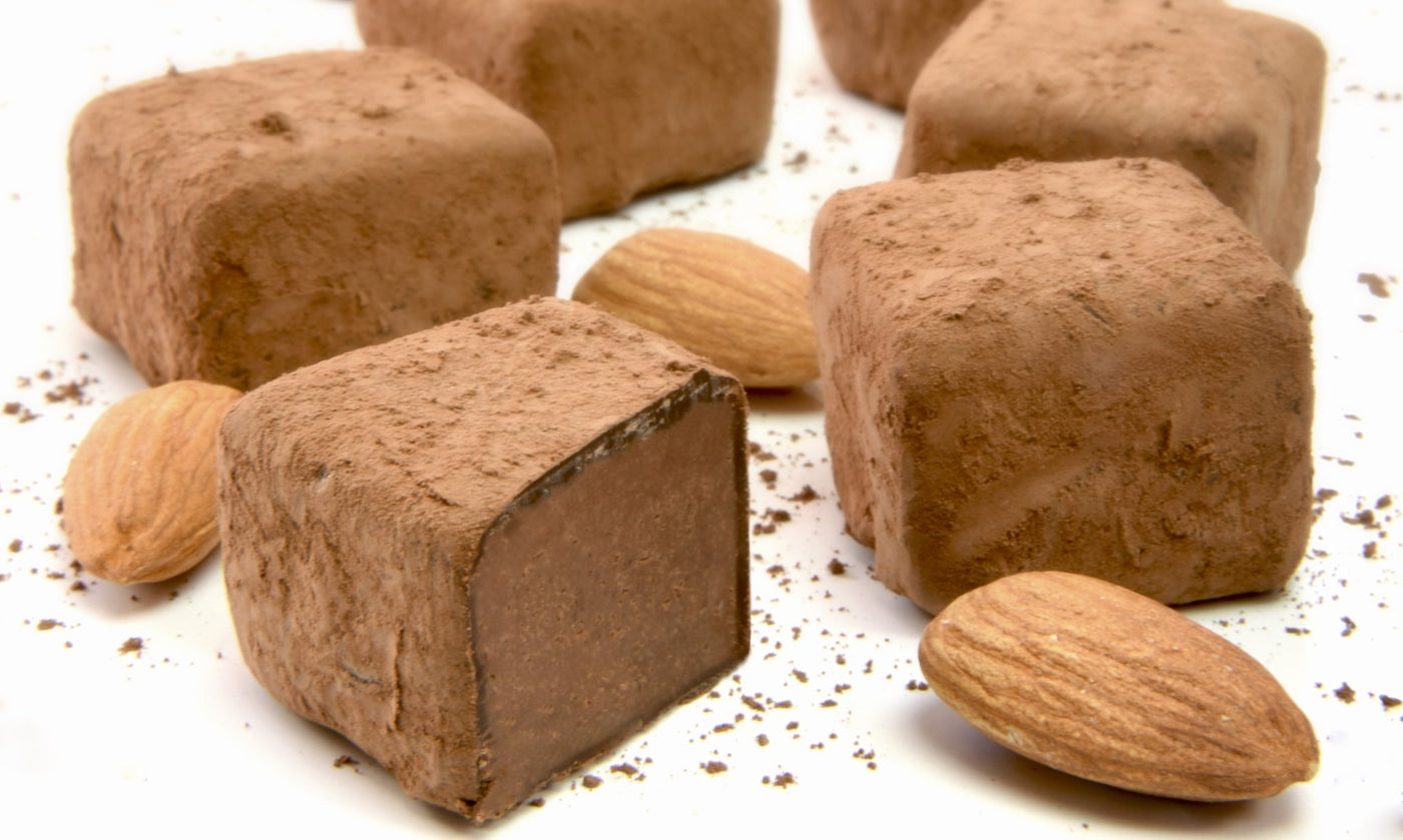 Close-up photo of Booja-Booja chocolate truffles: these ones are almond salted caramel