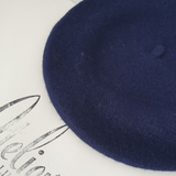 Marine blue wool beret