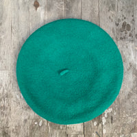 Emerald colour wool beret