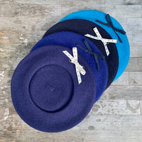 Small Eyelet Beret - Blues