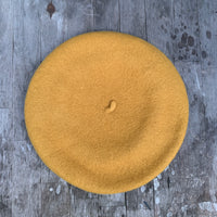 Mustard colour wool beret