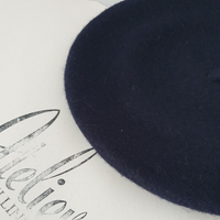 Navy blue wool beret