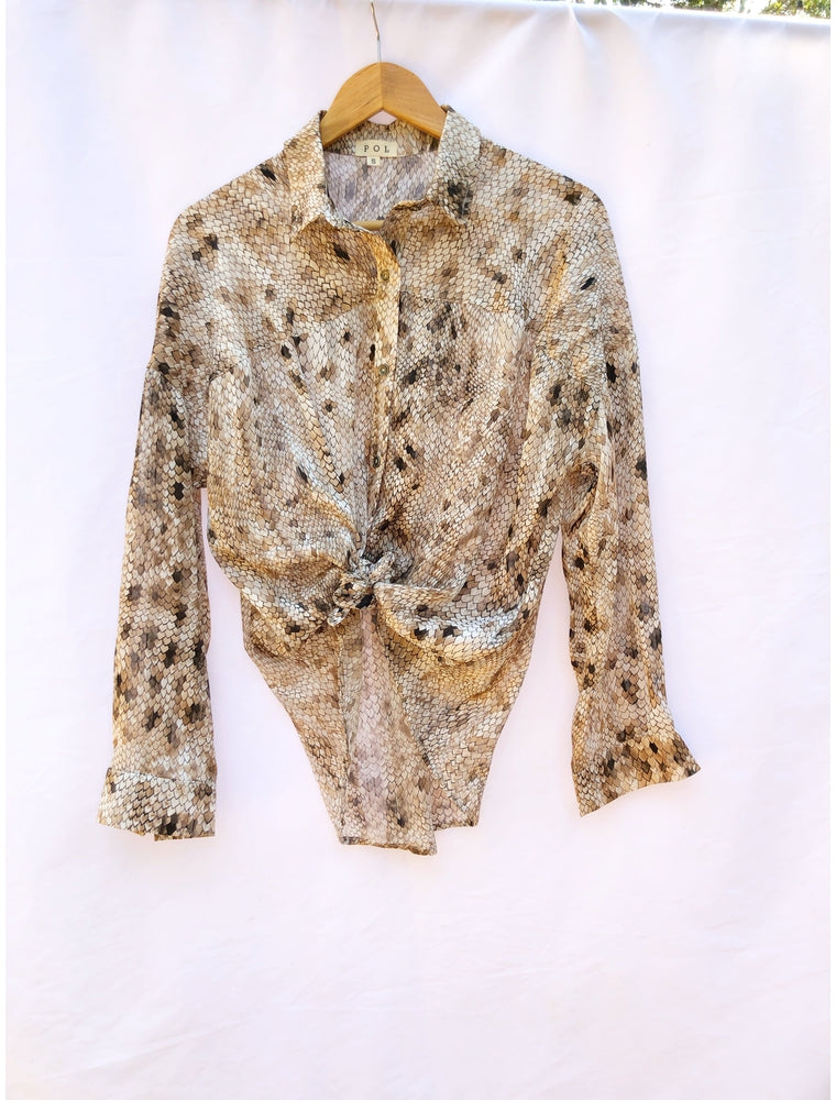 Pol Taupe Snake Button Up
