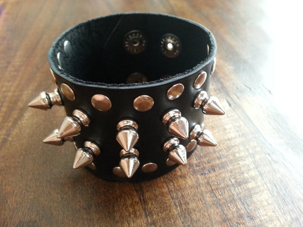 "Leather Cuff - 2"" Black with Spikes"