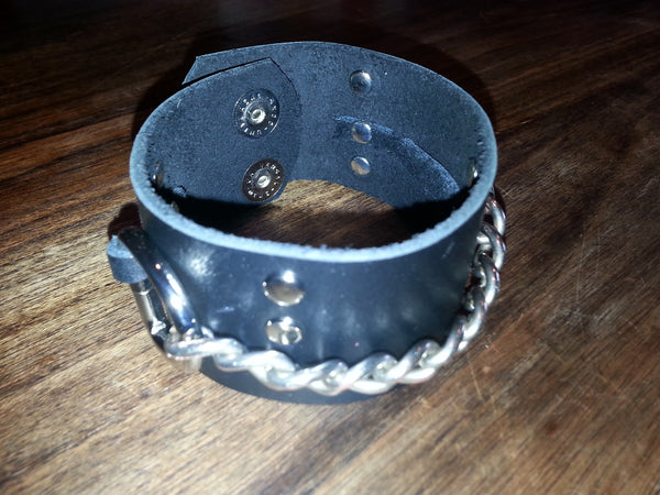 Leather Cuff - Black Chain