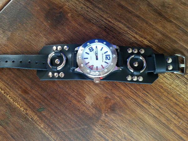 Leather Watch Band - Black with Large Face Watch