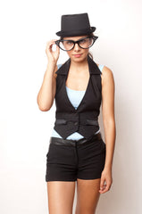 SOLD OUT Black Shaper Vest, Black Satin Trim