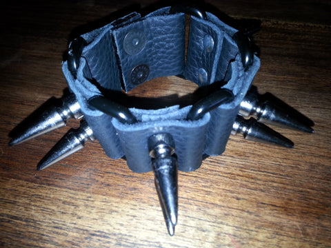 Leather Cuff - Black with Mega Spikes