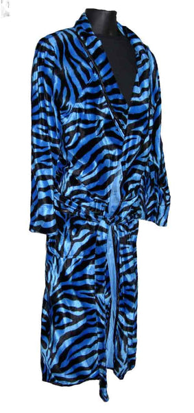 Zebra-Blue Fur Robe