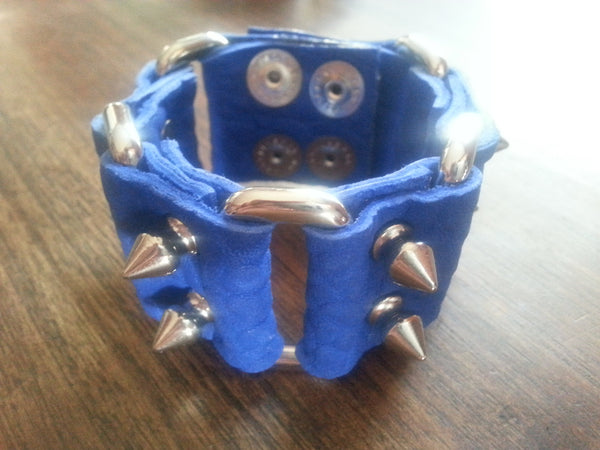 Leather Cuff - Blue Leather Spike