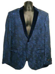 Blue Jacket with Black Velvet
