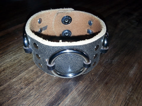 Leather Cuff - Brown Rings