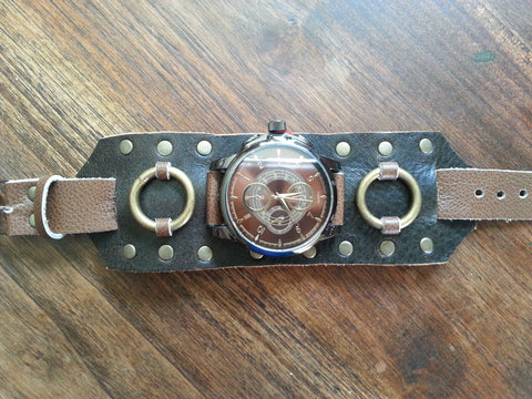 Leather Watchband - Brown with large face Watch