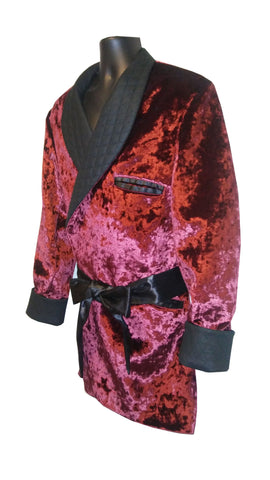 Royal Burgundy Velour with Black quilt collar