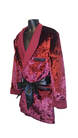 Royal Burgundy Velour with Burgundy Quilt collar