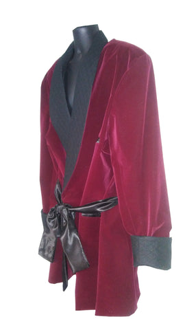 Burgundy Velvet with Black quilt Collar