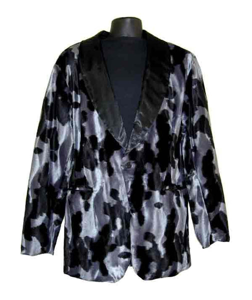 Cow-Black And Gray Smoking Jacket