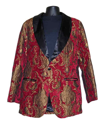 Drape-Red Paisley Smoking Jacket