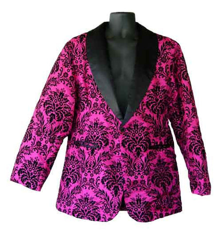 Flocking-Fushia Flocking Smoking Jacket