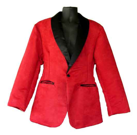 Suede-Red Faux Suede Smoking Jacket
