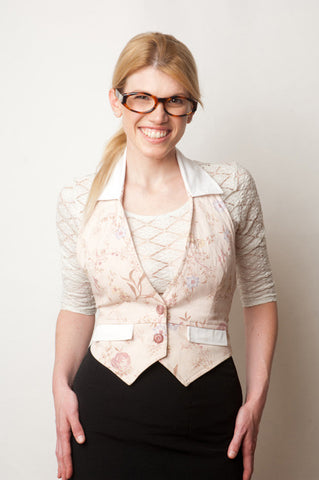 SOLD OUT Japanese printed Antique Rose Shaper Vest (Double Paneled), with White Satin Collar Trim