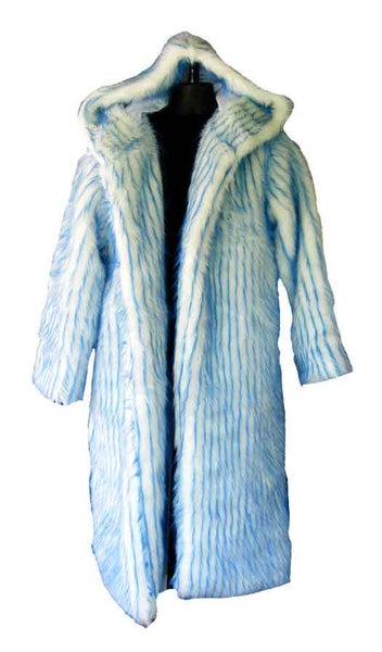 Fur, White With Blue Stripe