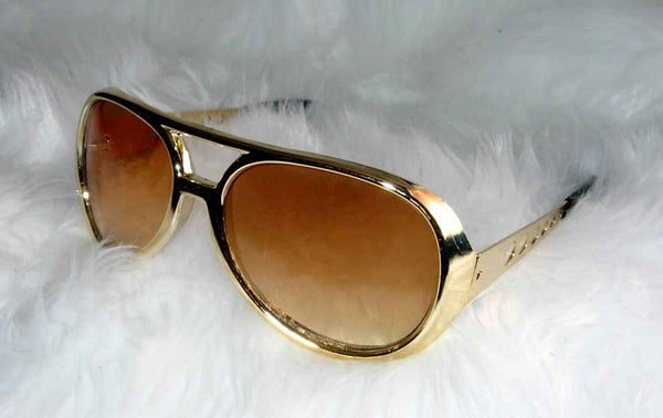 Elvis Glasses Gold Frames With Brown Lenses
