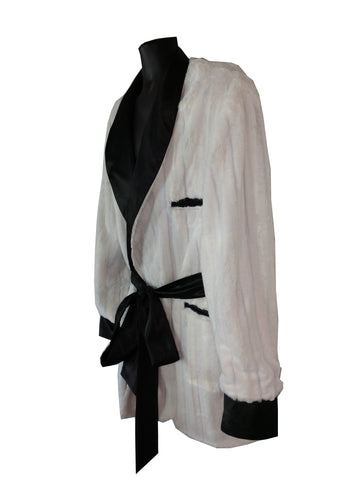 White Minky Hef Smoking Robe