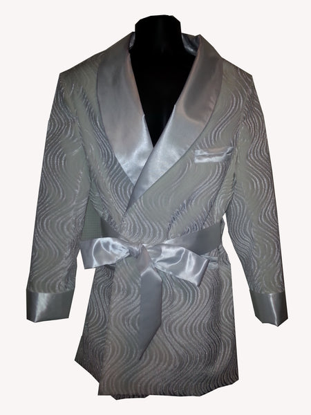 White Wave Velvet Hef Smoking Jacket