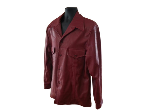 Red Faux Leather Leisure Jacket