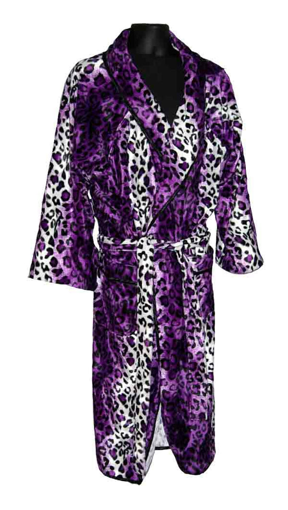 Purple and White Leopard Fur Robe – Ninedeep