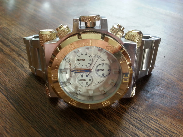 Watch - Diver Style - Stainless with Gold Face