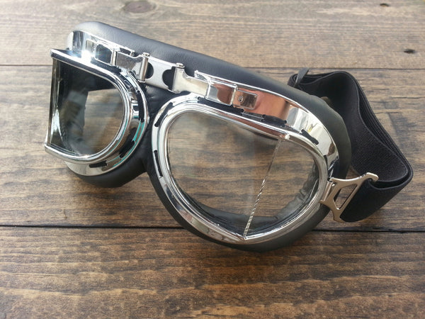 Motorcycle Goggle Silver Clear Lense