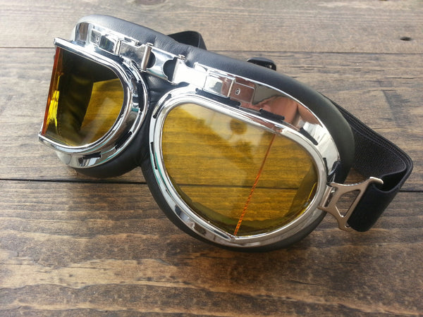 Motorcycle Goggle Silver Yellow Lense