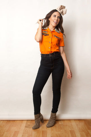SOLD OUT Orange Button Down, Leopard Fur Trim
