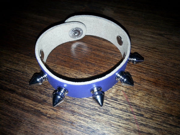 Leather Cuff - Purple Single Row Spikes