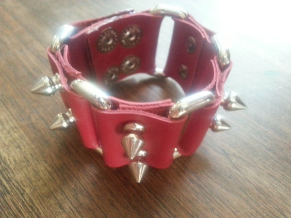 Leather Cuff - Red Leather spike