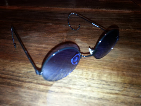 Lennon Glasses - Black with Blue Lense