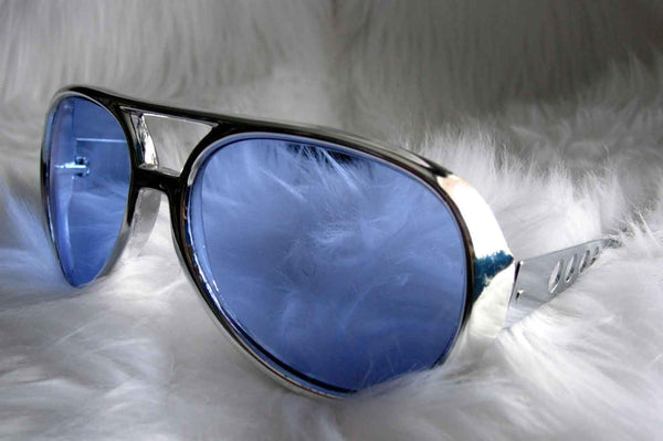 Elvis Glasses Silver Frames with Blue Lenses