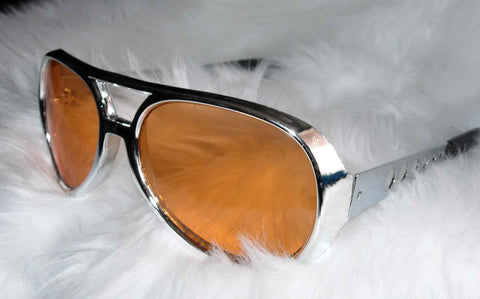 Elvis Glasses Silver Framed With Orange Lenses