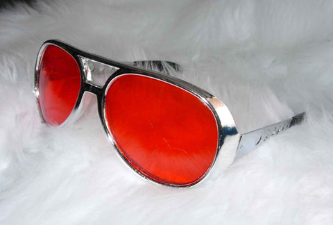 Elvis Glasses Silver with Red Lenses