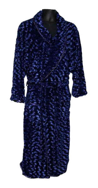 Rosebud-Navy Blue Fur Robe