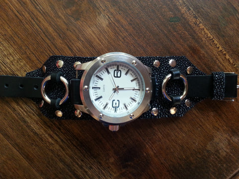 Leather Watch Band - Black Stingray with Large Face Watch